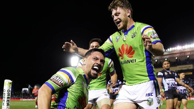 Canberra's Jordan Rapana celebrates scoring a try. Picture: Brett Costello