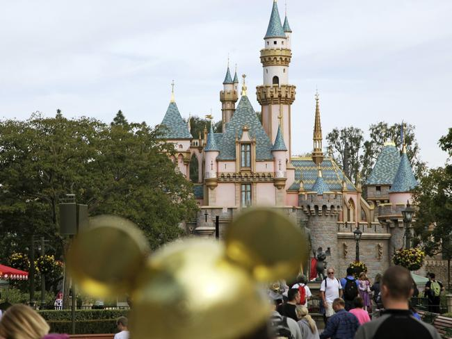Sleeping Beauty's Castle in the background at Disneyland Resort in Anaheim, California. Disneyland says it's closing its California parks starting Saturday over coronavirus concerns. Picture: AP