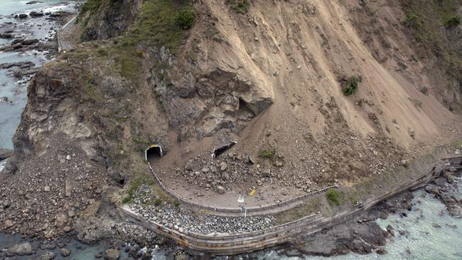 A landslide covers a section of State Highway 1 near Kaikoura after a powerful earthquake hit New Zealand on November 14, 2016. Picture: David Alexander/SNPA via AP