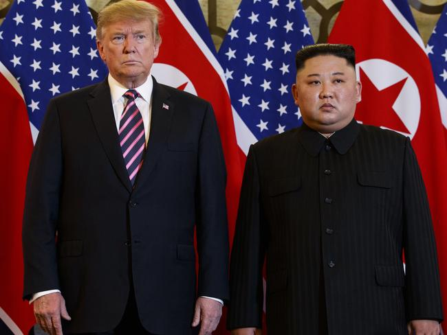 President Donald Trump has retaliated on Twitter from Hanoi, where he is meeting with North Korean leader Kim Jong-un. Picture: AP Photo/ Evan Vucci
