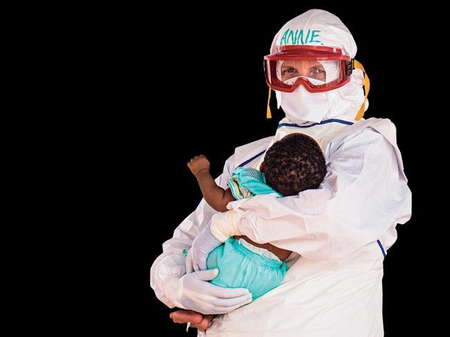 Caretaker ... WA nurse Anne Carey at a Red Cross hospital on the outskirts of Kenema, Sierra Leone. Picture: Michael Duff