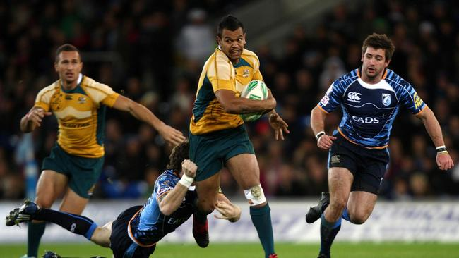 Kurtley Beale in one of his first Wallabies appearances, in a tour match against Cardiff.