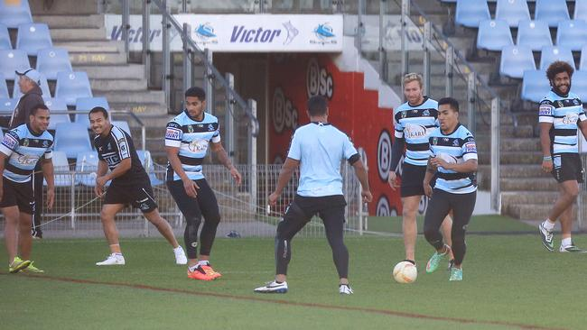 The Sharks train at Remondis Stadium minus the ASADA affected players.