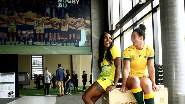 Mahalia Murphy and Mollie Gray at the new Rugby Australia HQ.