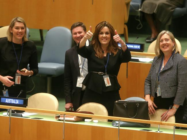 In control: Peta Credlin (centre) gives a thumbs up. Photo: Alex Ellinghausen