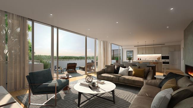 Computer generated image of the open-plan living area.