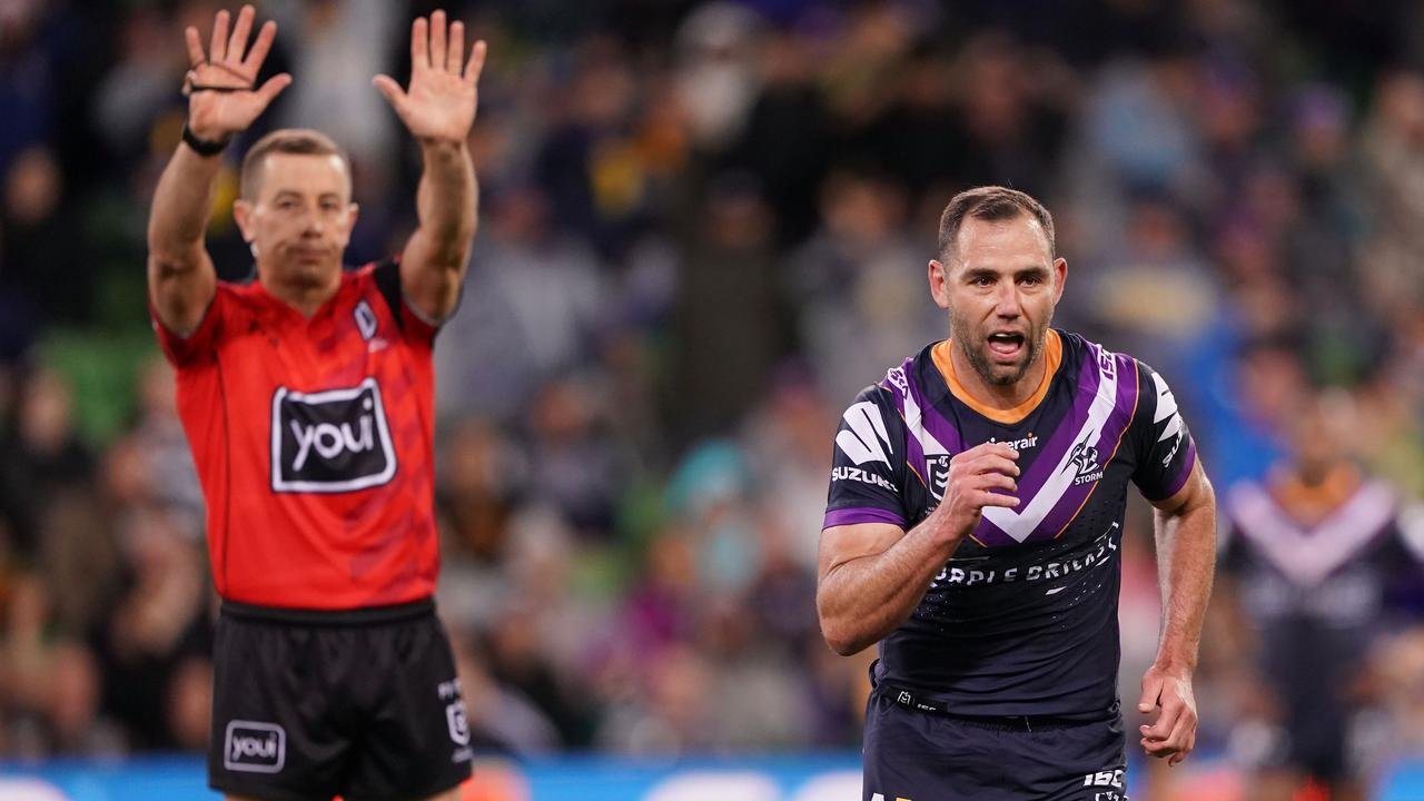Cameron Smith of the Melbourne Storm is sent to the sin bin.