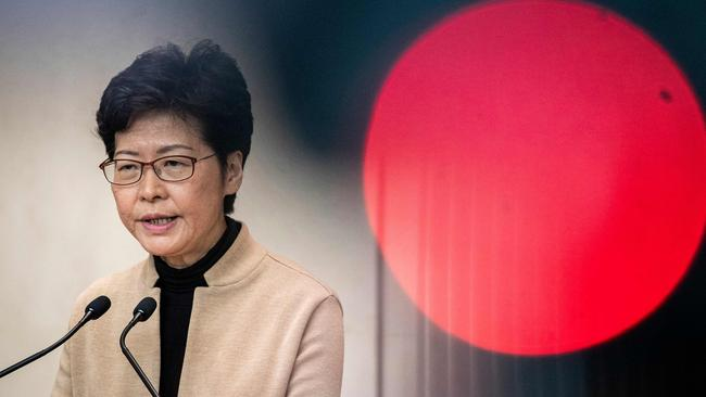 Hong Kong Chief Executive Carrie Lam has since withdrawn the controversial extradition bill. Picture: Nicolas Asfouri / AFP