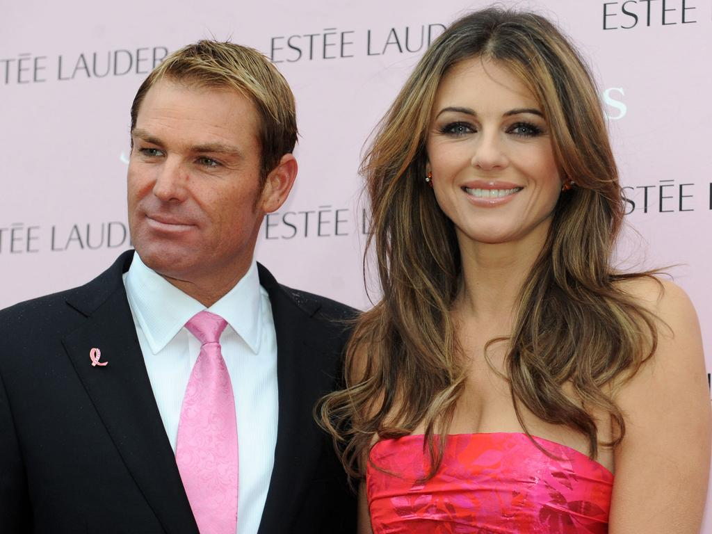 Shane Warne and Liz Hurley in happier times.