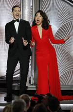 Hosts Andy Samberg and Sandra Oh speak onstage during the 76th Annual Golden Globe Awards at The Beverly Hilton Hotel on January 6, 2019. Picture: Getty