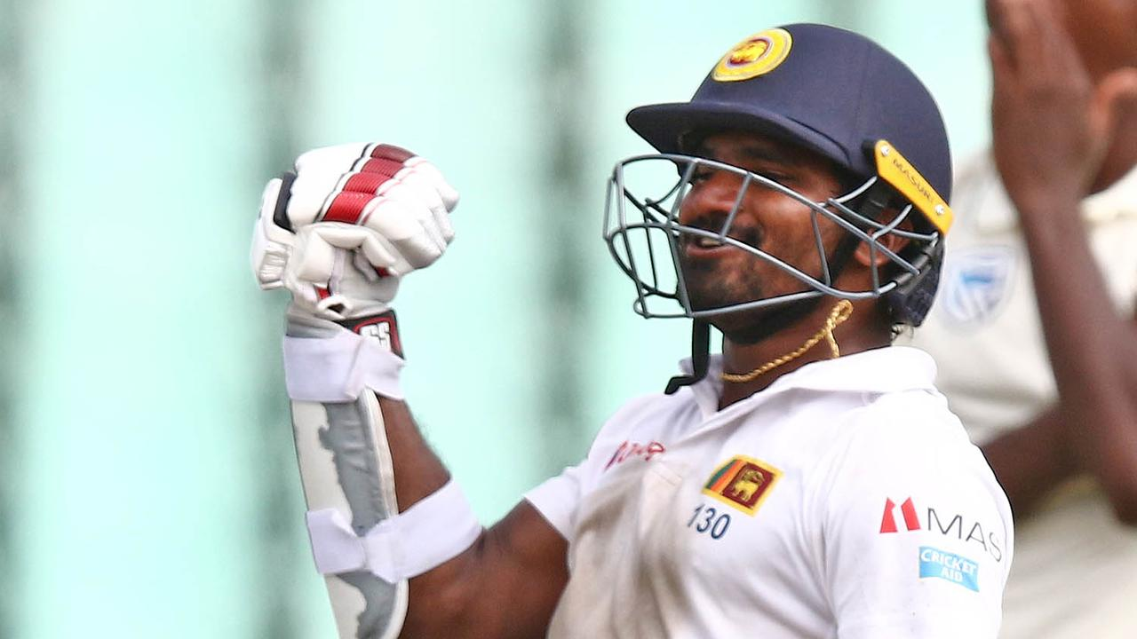 Sri Lanka's Kusal Perera celebrates the victory.