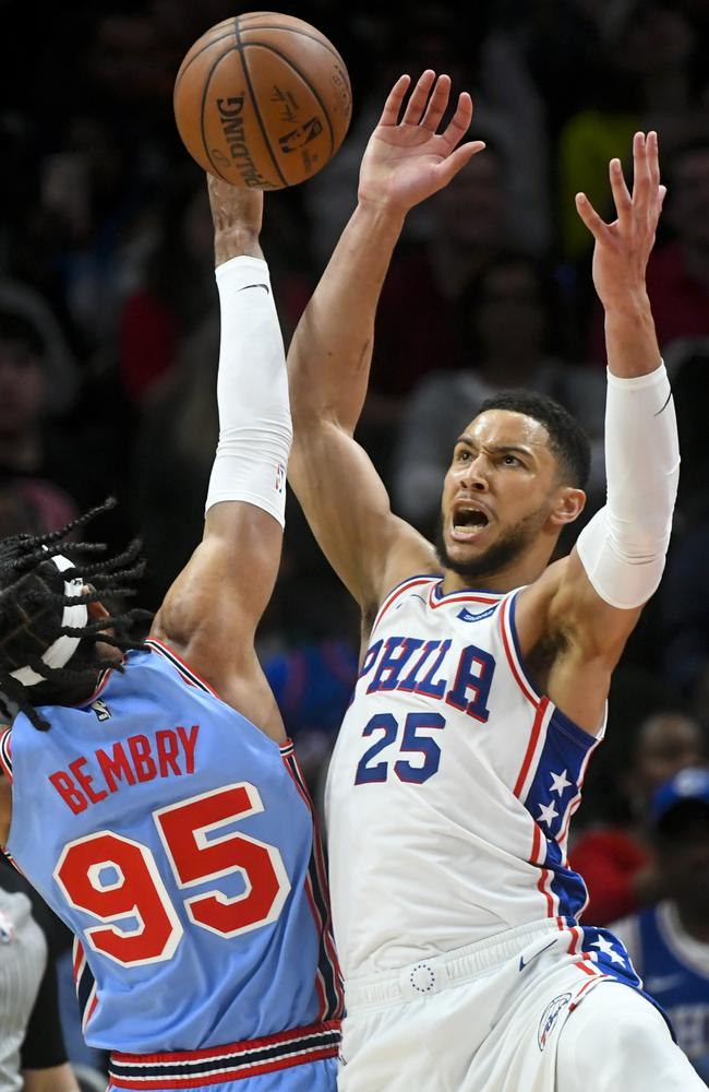 Ben Simmons struggled with his shot in Philadelphia's loss to Atlanta. Picture: AP