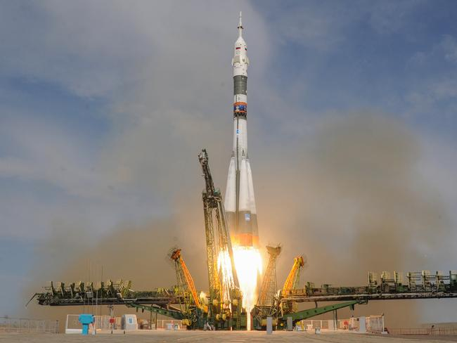Russia's Soyuz MS-09 spacecraft carrying the members of the International Space Station (ISS) expedition 56/57, NASA astronaut Serena Aunon-Chancellor, Roscosmos cosmonaut Sergey Prokopyev and German astronaut Alexander Gerst, blasts off on June 6, 2018. Picture: AFP