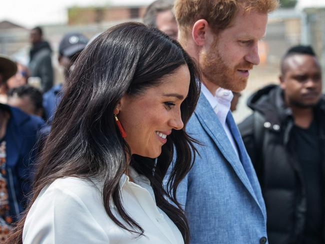 Meghan Markle and Prince Harry during their tour of South Africa. Picture: AFP