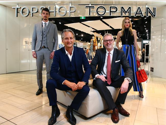 Topshop's Hilton Seskin, front left, with Myer's Daniel Bracken in Melbourne.