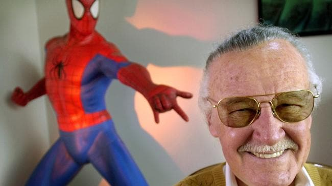 Stan Lee with one of his most famous creations, Spider-Man. Picture: AP