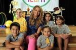 Ricki Lee filming a new television commercial for Woolworths at Darcy Road Primary School in Wentworthville. With school kids Lucia Zembjack, Emily Misfud and Joel Misfud, Dione Iro and Stephanie Mavridis. Picture: Rohan Kelly