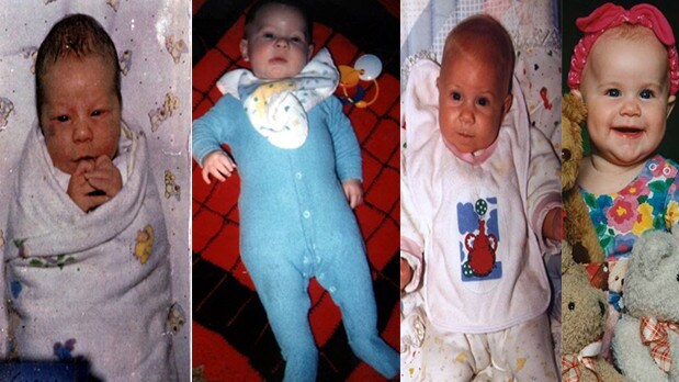 Folbigg killed babies (left to right) Caleb, Patrick, Sarah and Laura over a ten year period.