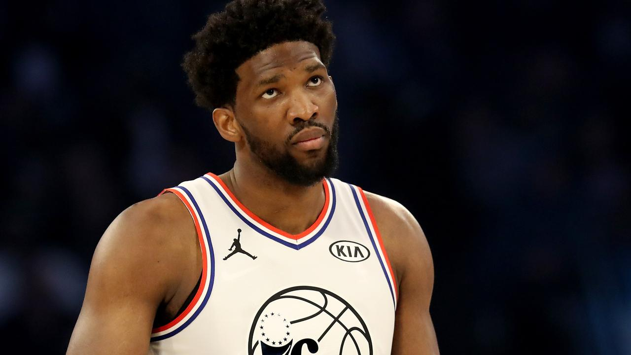 Joel Embiid of the Philadelphia 76ers during the NBA All-Star game.
