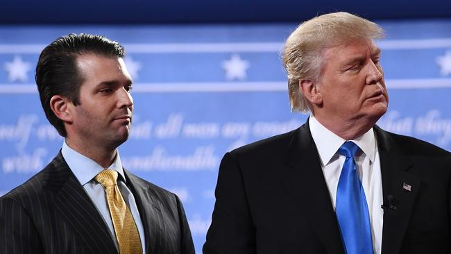 President Trump denied on July 27, 2018 knowing about a 2016 meeting between top members of his election campaign team and a Russian lawyer, disputing reported claims by his former lawyer, Michael Cohen. 'I did NOT know of the meeting with my son, Don Jr,' Trump said in a tweet. Picture: AFP / Jewel Samad