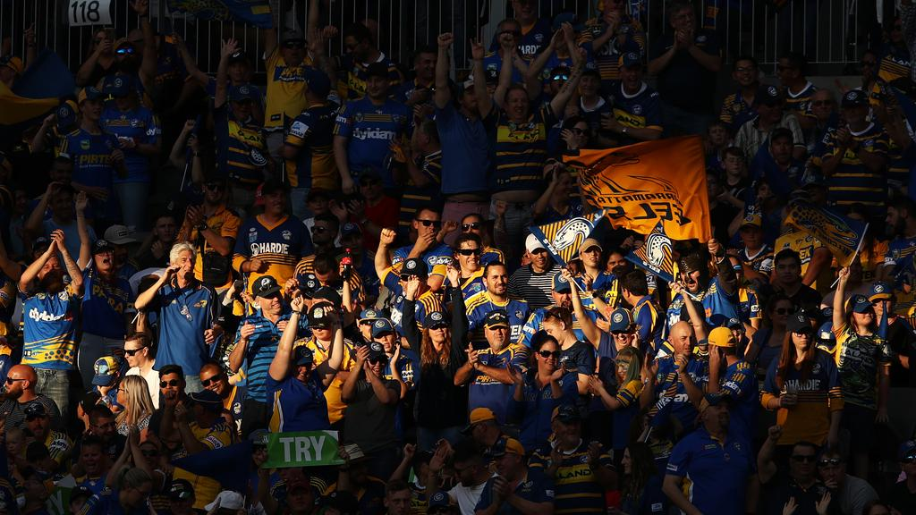 Eels fans cheer during the NRL elimination final against the Broncos at Bankwest Stadium. Picture: AAP