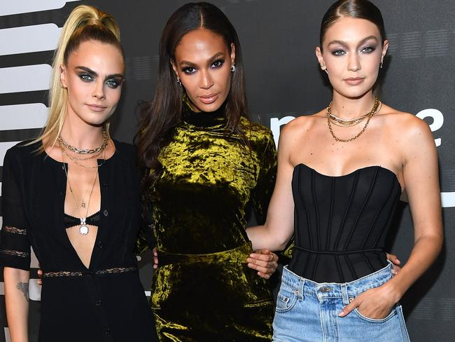 (L-R) Cara Delevingne, Joan Smalls, and Gigi Hadid attend Savage X Fenty Show in Brooklyn, New York. Picture: Getty Images