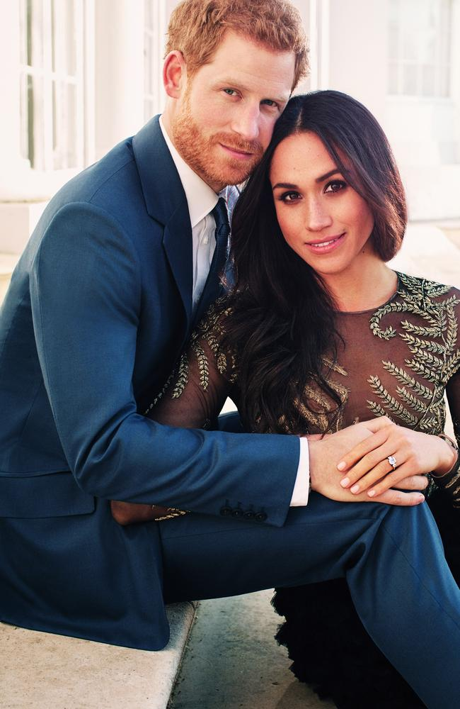 Prince Harry and Meghan Markle pose for one of two official engagement photos at Frogmore House in December, 2017 in Windsor, United Kingdom. Picture: Alexi Lubomirski via Getty