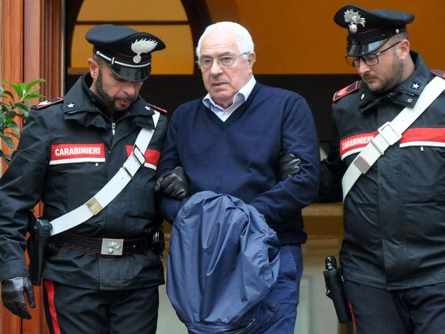 Settimino Mineo, jeweller and new head of the Sicilian mafia, is arrested in Palermo. Picture: AFP