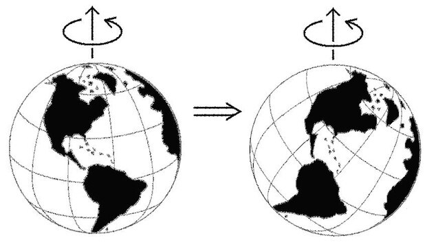 While the spin of the Earth remains at the same angle it is against the Sun, like a ball - exactly which part of the globe that spin centres on depends on centrifigal force balancing out its weight distribution.