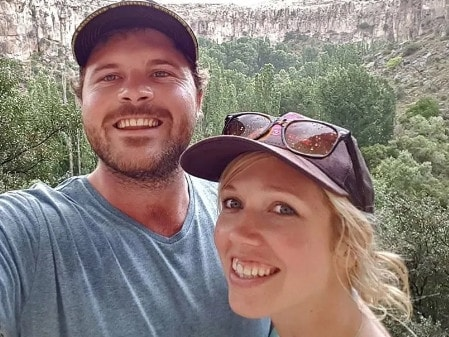 Matthew Turner says he woke to a man stabbing him in the stomach and another man hacking his pregnant wife as they slept at a luxury resort. Picture: Facebook