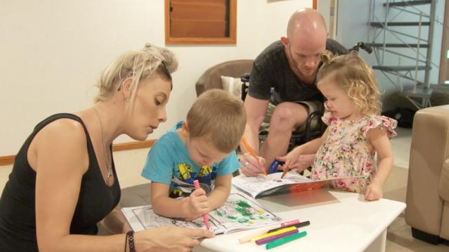Glenn, pictured with Jessie-Lee and their two children, has a new appreciation of every moment with family. Picture: Channel 9