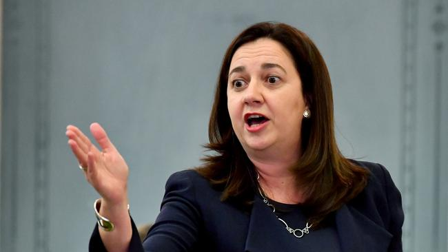 Queensland Premier Annastacia Palaszczuk speaks during Question Time at Parliament House yesterday. Picture: AAP Image/Darren England
