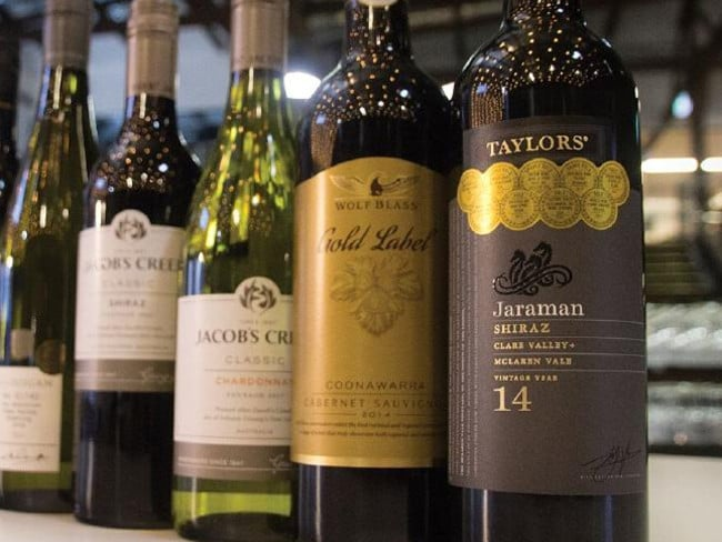 The 2014 Shiraz from Taylors Wines is covered in gold medals.