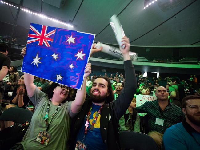 Aussie supporters in the crowd. Photo: Robert Paul for Blizzard Entertainment
