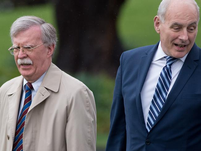 National Security Advisor John Bolton (L) and White House Chief of Staff John Kelly reportedly got into a yelling match. Picture: AFP