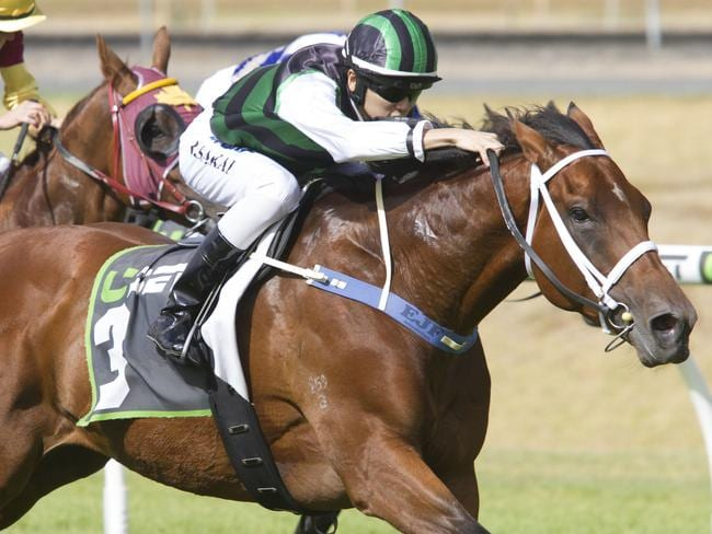 Ryusei Sakai wins on Captain Duffy at Morphettville. Picture: Atkins Photography