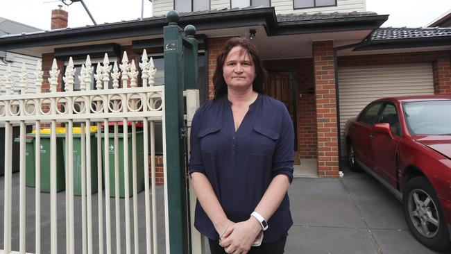 Kelly, outsider her rental house in Footscray where an out of control party caused major damage. Picture: David Crosling.
