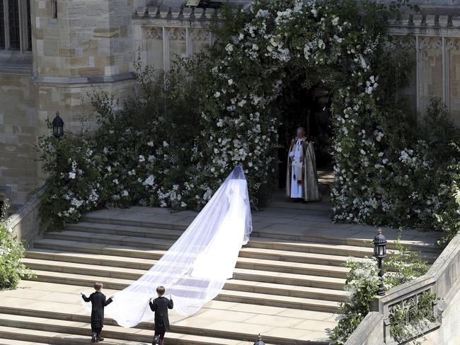 Meghan Markle arrives for her wedding ceremony. Picture: Andrew Matthews/pool photo via AP