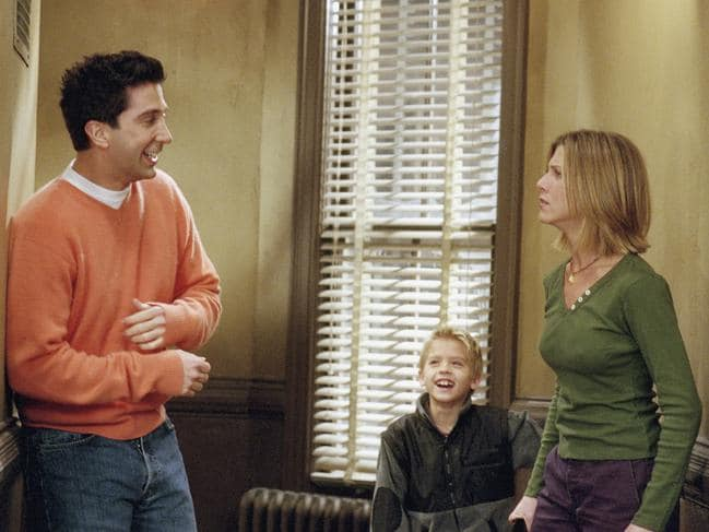 """The One with the Truth About London"": David Schwimmer as Ross Geller, Cole Sprouse as Ben Geller, Jennifer Aniston as Rachel Green. Picture: NBC via Getty Images"
