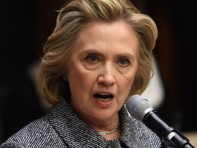 Hillary Clinton has broken her silence about the email debacle, saying it was inconvenient for her to carry two phones. Picture: AFP/Don Emmert.