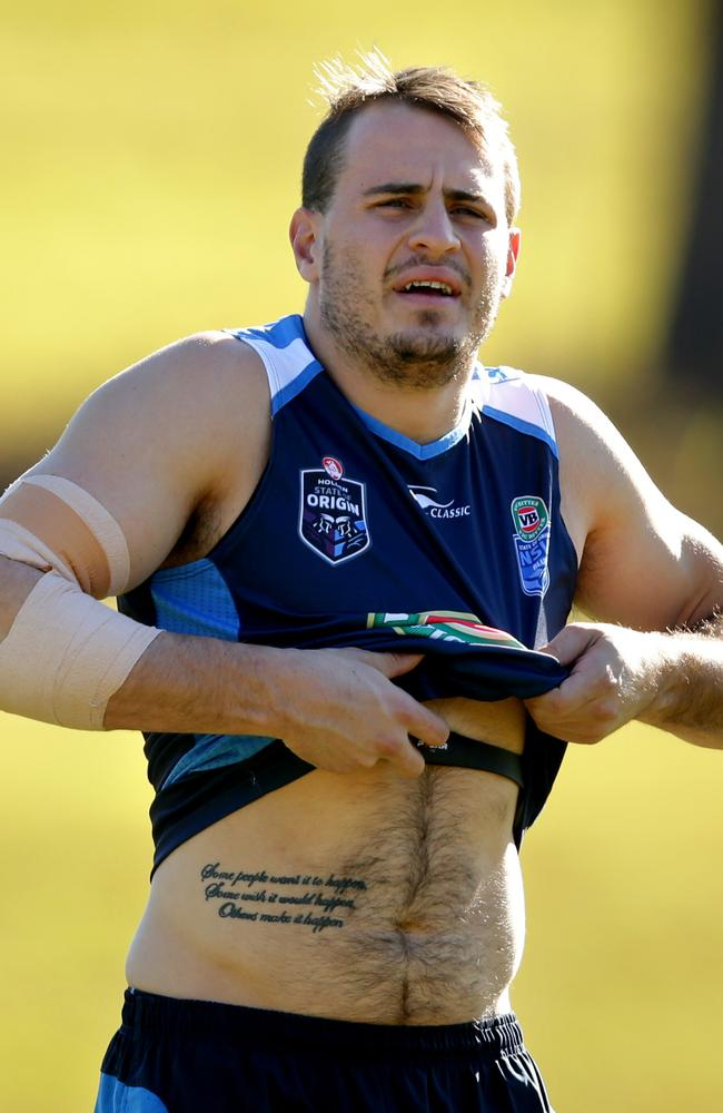 Josh Reynolds trains with the Blues. Picture: Gregg Porteous