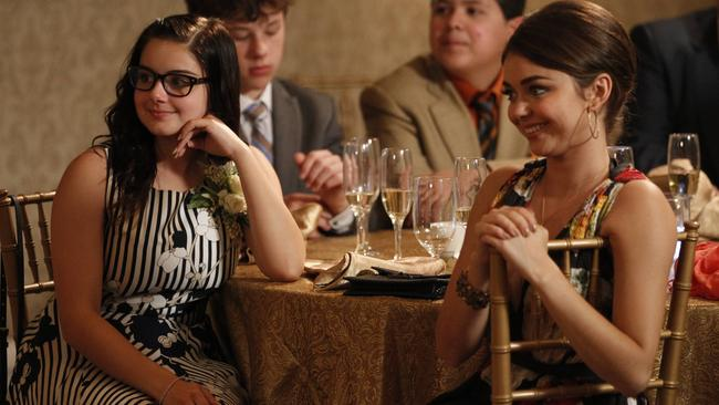 Ariel Winter with co-star Sarah Hyland on the set of  <i>Modern Family. </i>Picture: Supplied.