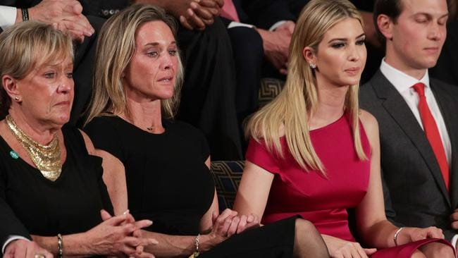Carryn Owens (second from the left) sits next to Ivanka Trump and Jared Kushner during Mr Trump's address. Picture: Getty/AFP