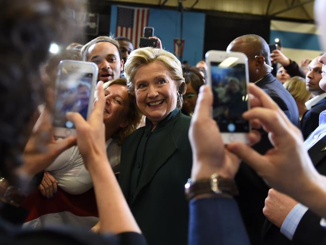 US Democratic presidential nominee Hillary Clinton greets supporters during a campaign rally at Cuyahoga Community College in Cleveland, Ohio. Picture: AFP