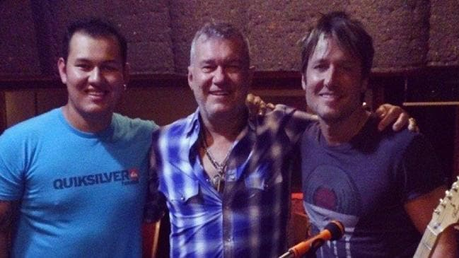 Old mates ... Jimmy Barnes with drummer son Jackie and Keith Urban in a Los Angeles studio to record Good Times. Picture: Facebook