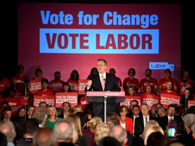 Australian Opposition Leader Bill Shorten delivers a speech during the Vote for Change Rally at Bowman Hall in Blacktown, Sydney. Picture: AAP Image/Lukas Coch