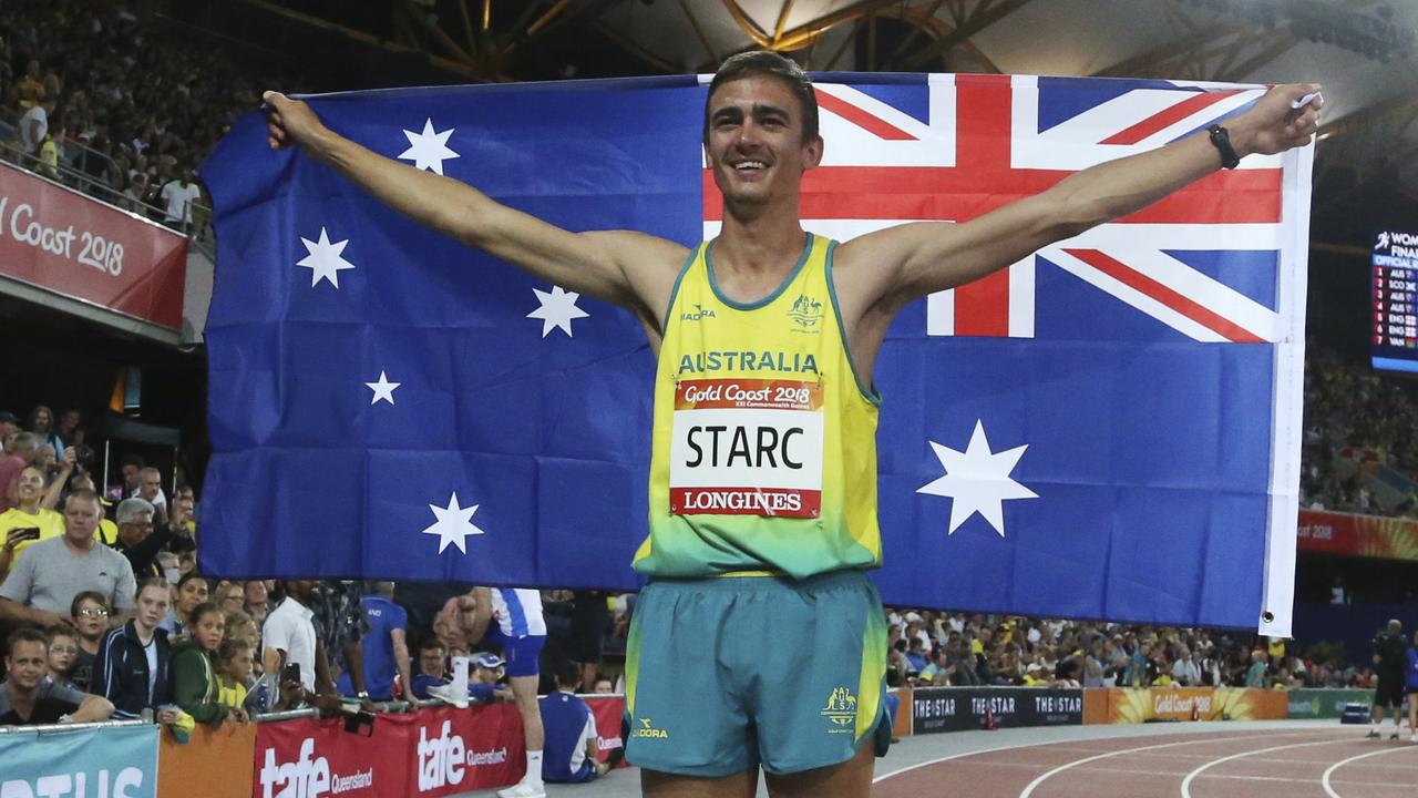 482631eee1 Australia's Brandon Starc celebrates his gold medal for the men's high jump  final at Carrara Stadium during the Commonwealth Games on the Gold Coast,  ...