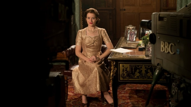 The Queen about to give her first televised Christmas speech. Photo: Netflix