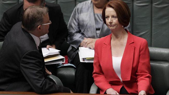 Anthony Albanese with Julia Gillard. Picture: Ray Strange