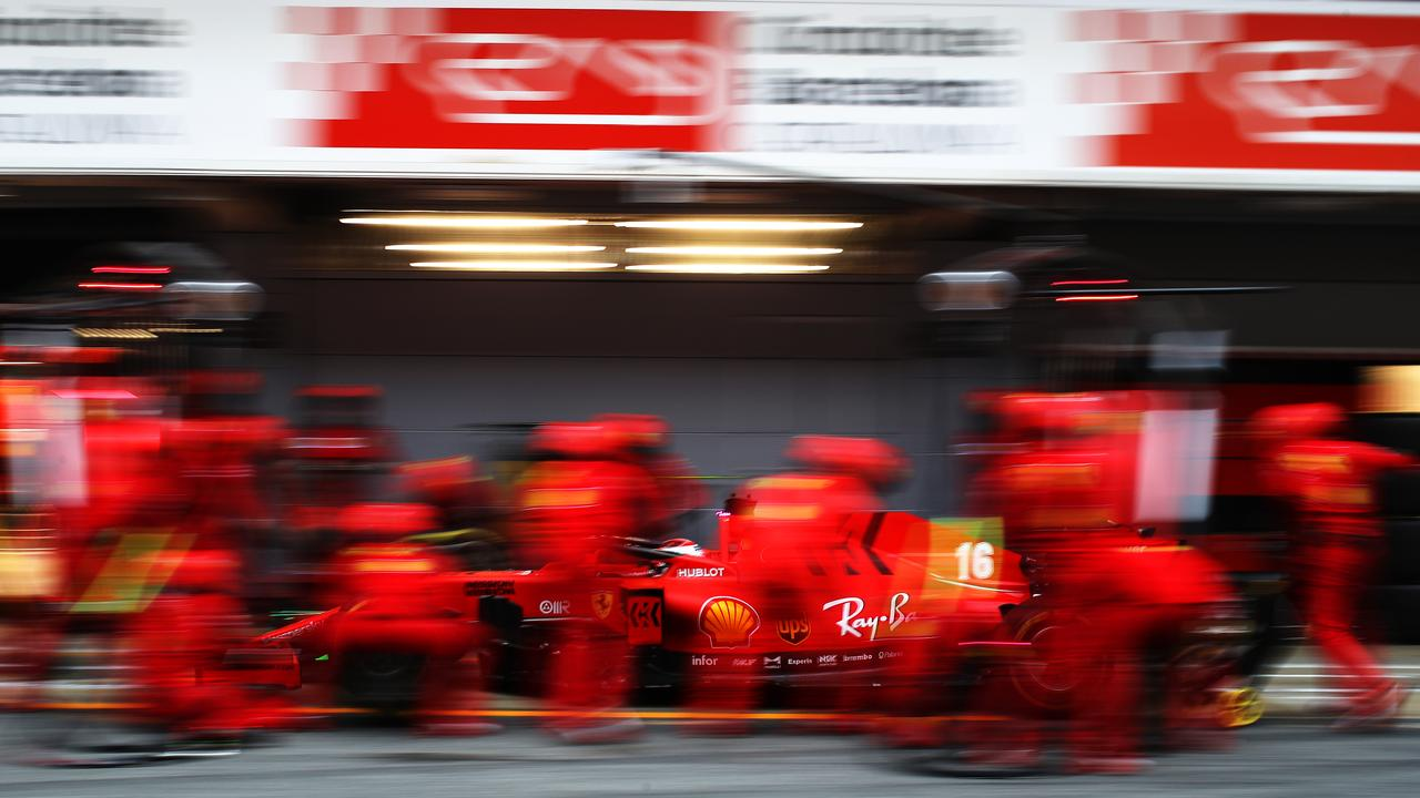Charles Leclerc of Monaco driving the (16) Scuderia Ferrari SF1000 stops in the Pitlane during Day Three of F1 Winter Testing at Circuit de Barcelona-Catalunya in Barcelona, Spain. Picture: Mark Thompson/Getty Images